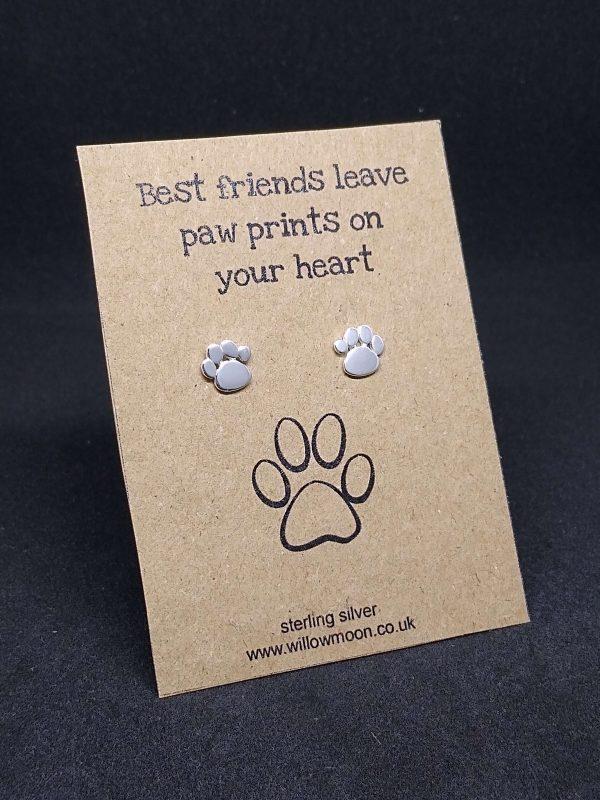Paw print on heart earrings sterling silver