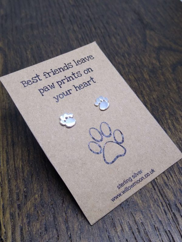 Paw print on heart earrings