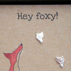 Fox sterling silver studs