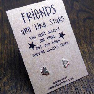 Triple star sterling silver earrings for a friend