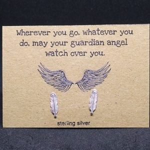 Guardian angel – feather sterling silver earrings