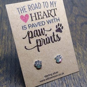 Paw print sterling silver earrings