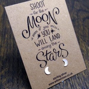 Shoot for the moon – sterling silver crescent moon earrings