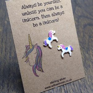 Always be a unicorn – multi coloured unicorn earrings